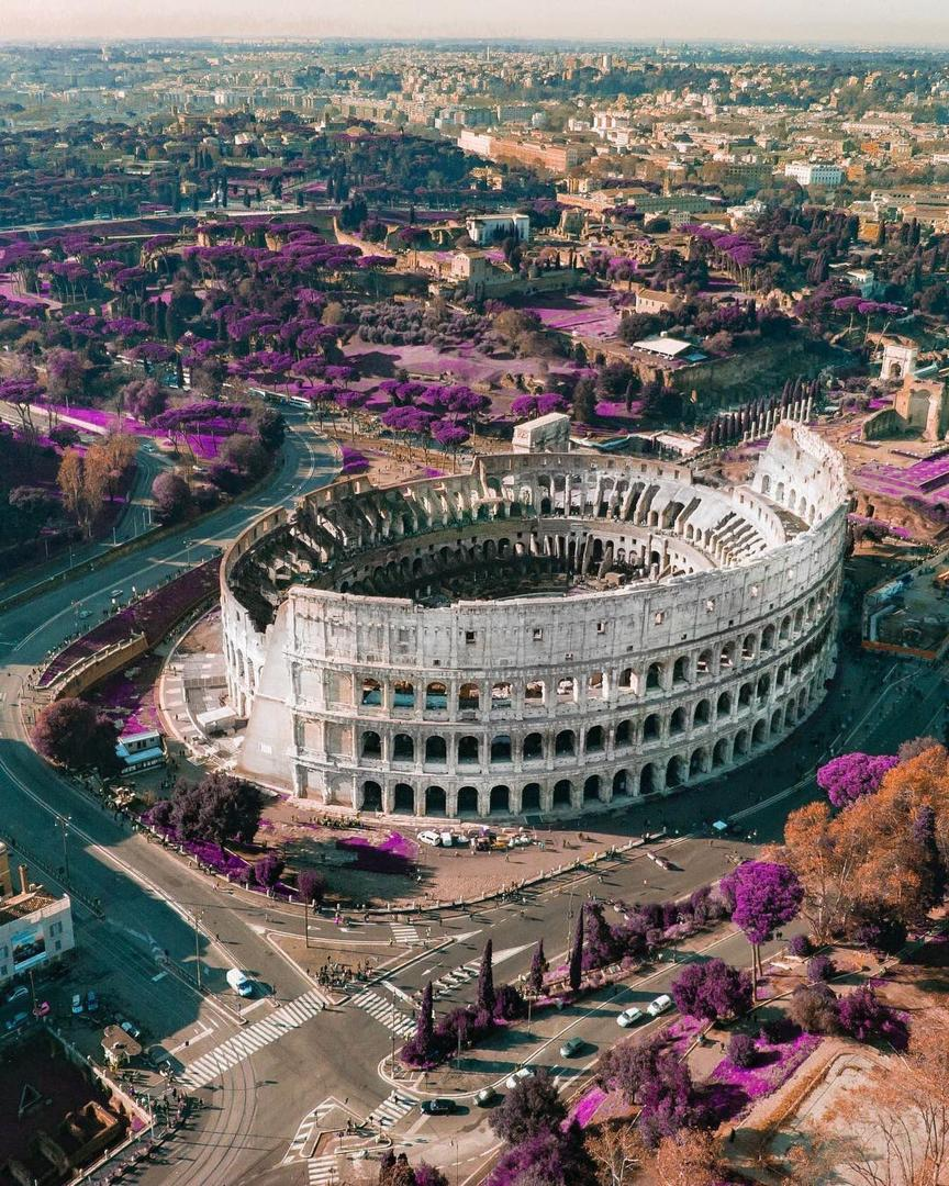 aerial view of the Colosseum